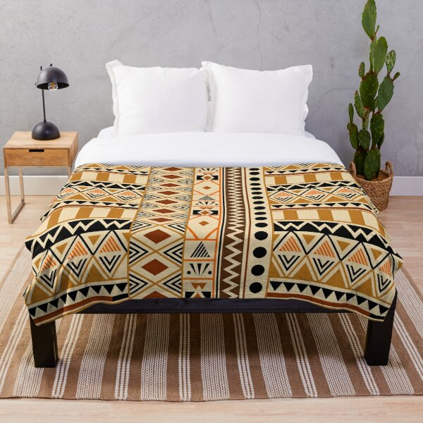 Geometric African Tribal Pattern Throw Blanket