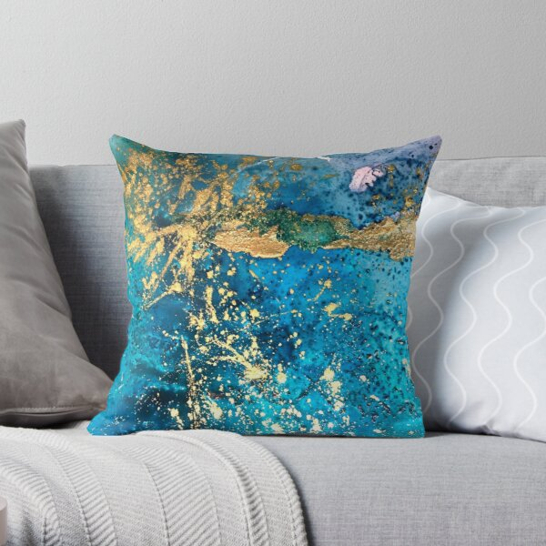 Bright gold and turquoise abstract Throw Pillow