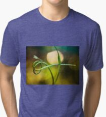 Blue Dragonfly sitting on garlic plant Tri-blend T-Shirt