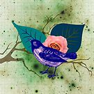 Blue Bird Pink Rose  by TheyComeAlong
