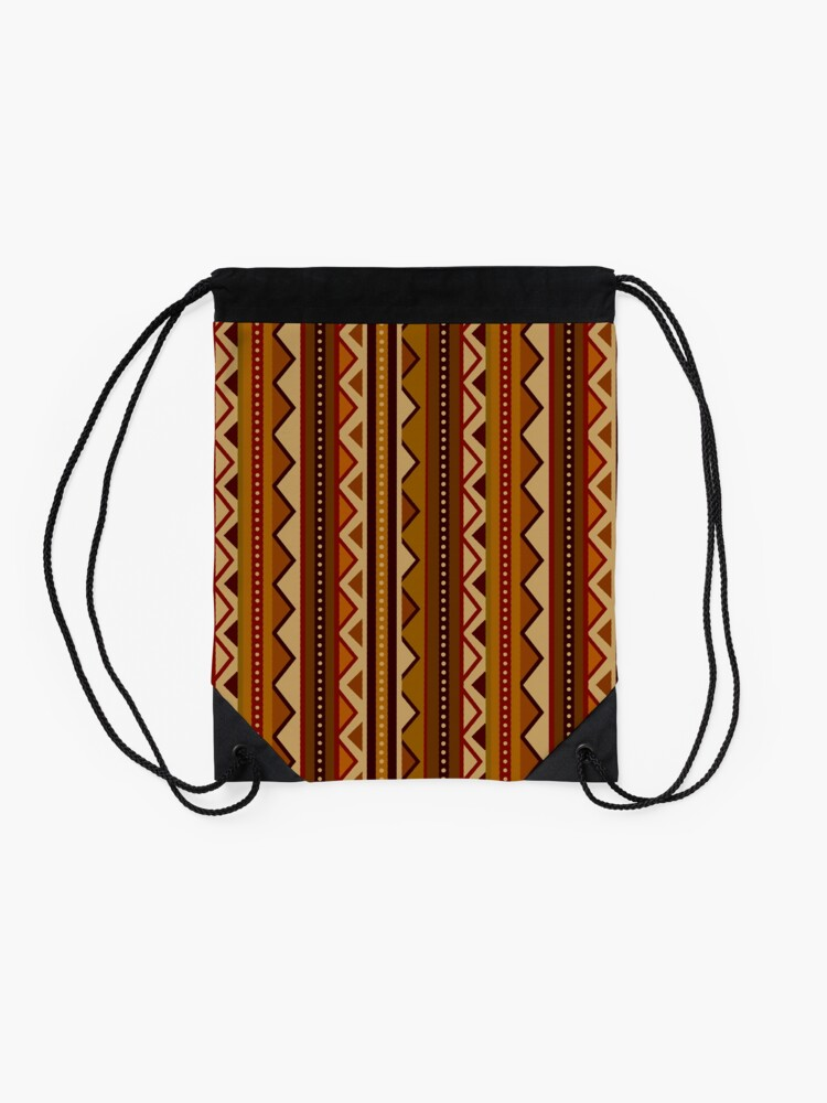 Alternate view of African border Drawstring Bag
