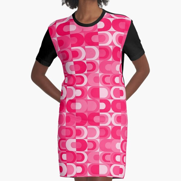 70s Pattern Retro Industrial Pink Collection Graphic T-Shirt Dress