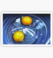 Two Raw Eggs, Blue Bowl, Realism Color Pencil Art Sticker