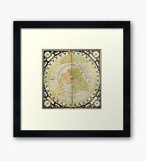 Flat Earth old map Framed Print