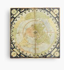 Flat Earth old map Metal Print
