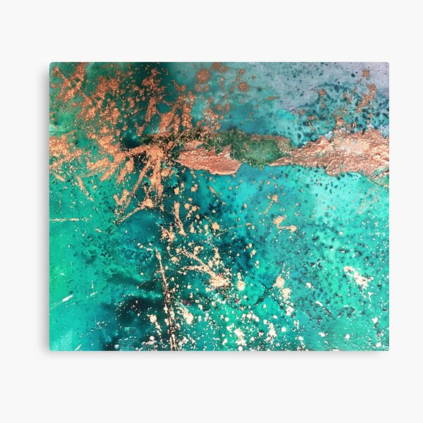 Universe Birth, Aqua and Copper Abstract Metal Print