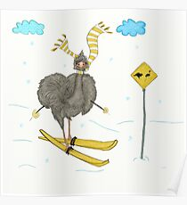 Emu Loves Cross Country Skiing  Poster