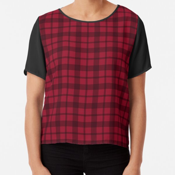 Red plaid  Chiffon Top