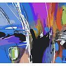 Blue 2, abstract expressionism by Wilfried van Dokkumburg