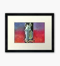 White Horse, artistic, red and blue Framed Print