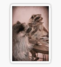 Two raccoons playing poker Sticker