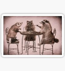 Two raccoons and opossum playing poker Sticker
