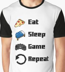 Eat, Sleep, Game, Repeat! 8bit Graphic T-Shirt