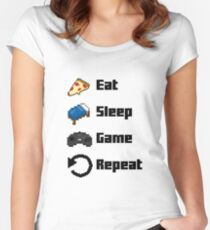 Eat, Sleep, Game, Repeat! 8bit Women's Fitted Scoop T-Shirt