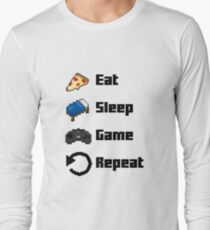 Eat, Sleep, Game, Repeat! 8bit Long Sleeve T-Shirt