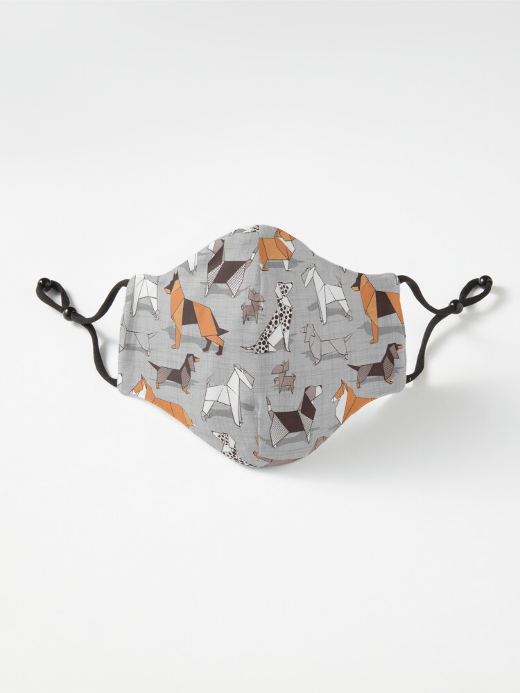 Alternate view of Origami doggie friends // grey linen texture background Mask