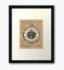 Barometer Vintage Tool Dictionary Art Framed Print