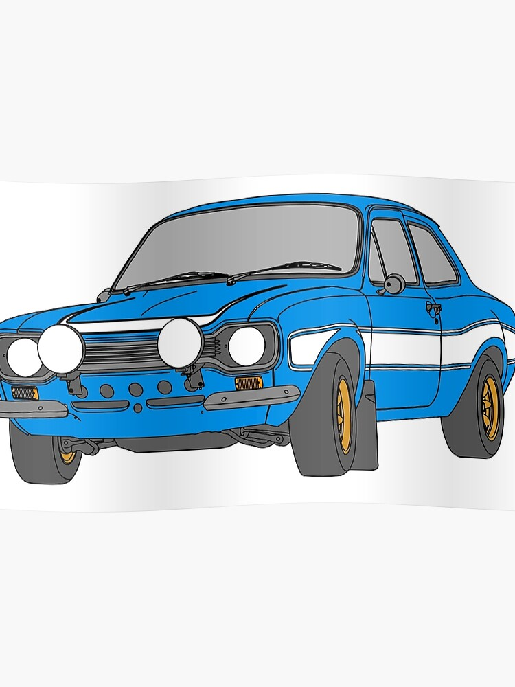 1970 Ford Escort Rs2000 Fast And Furious Paul Walker S Car Black Outline Colour Fill Poster
