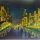 Southbank at Night Melbourne Vic Australia by Margaret Morgan (Watkins)