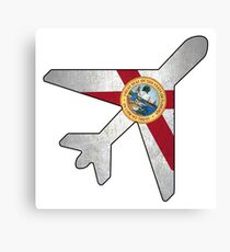 Florida flag airplane outline Canvas Print