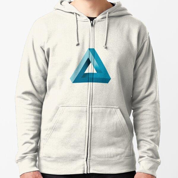 Penrose Triangle (Cyan) Zipped Hoodie
