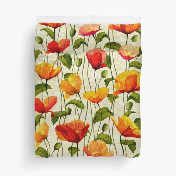 Vintage Textured Poppies patterns, Remembrance day Duvet Cover