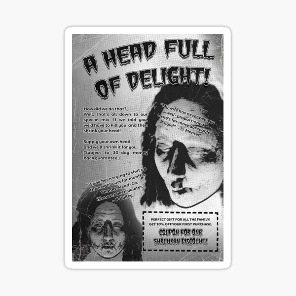 Shrunken Head Badvert | Bite-sized Horror for Halloween | Vintage Horror Sticker