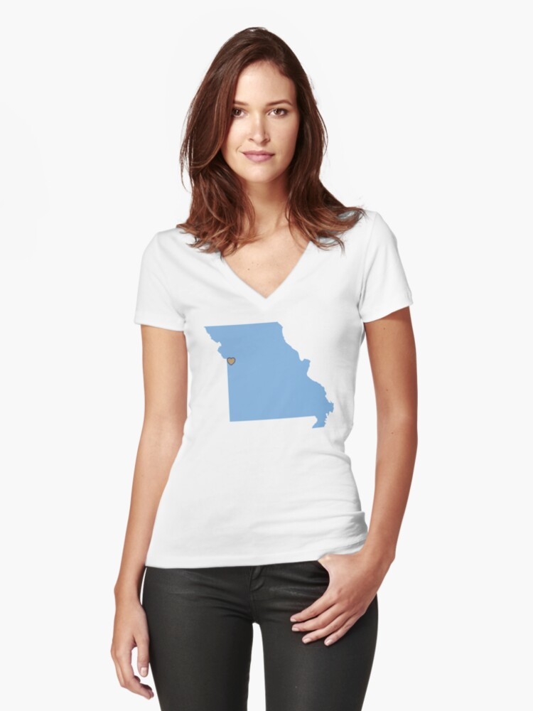 Home Sweet Kansas City, MO Women's Fitted V-Neck T-Shirt Front