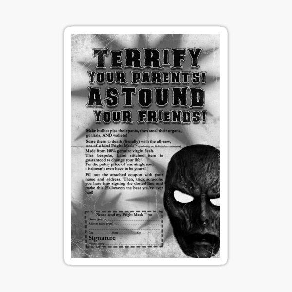 Fright Mask Badvert Sticker | Bite-sized Horror for Halloween | Horror Sticker