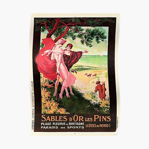SABLES D'OR LES PINS French Seaside Resort Brittany France Vintage Travel  Poster