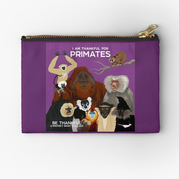 I Am Thankful For Primates Zipper Pouch