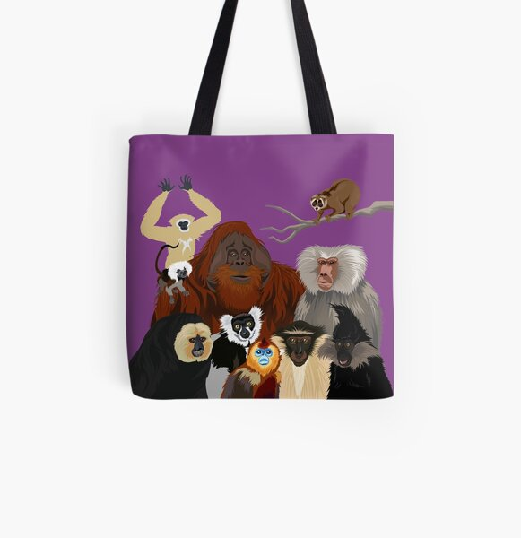 I Am Thankful For Primates All Over Print Tote Bag