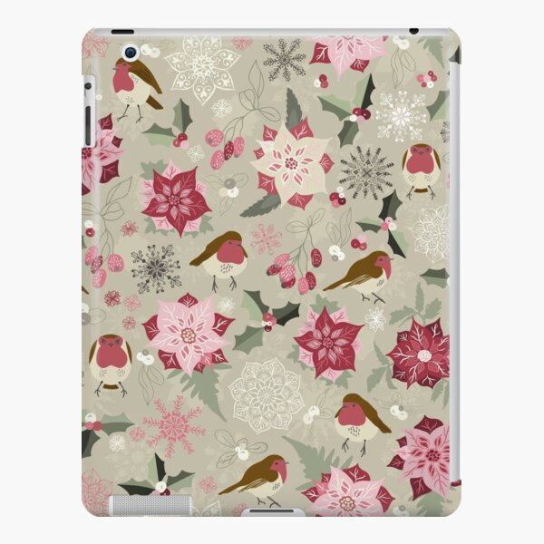 Pretty seamless Christmas pattern with robins, holly, mistletoe, snowflakes and pointsettia on Light Green iPad Snap Case