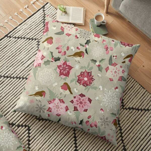Pretty seamless Christmas pattern with robins, holly, mistletoe, snowflakes and pointsettia on Light Green Floor Pillow