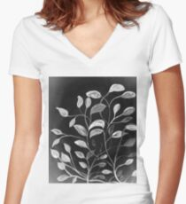 Red and Green Leaves! Monochrome Black and White and Grey Women's Fitted V-Neck T-Shirt