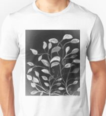 Red and Green Leaves! Monochrome Black and White and Grey Unisex T-Shirt