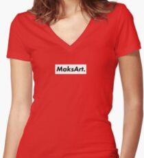 MaksArt Box Logo Women's Fitted V-Neck T-Shirt