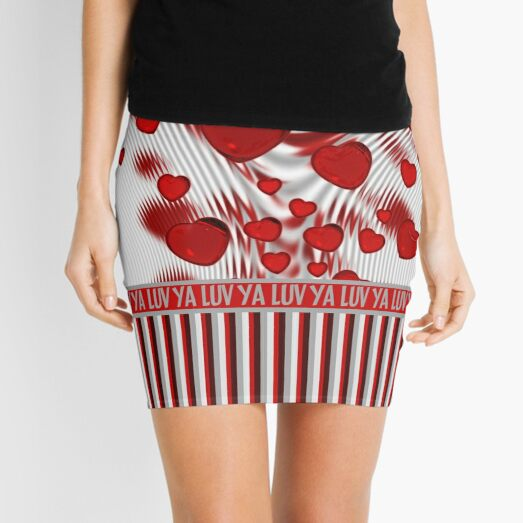 Luv Ya Glossy Candy Red Hearts Silver Swirl Mini Skirt