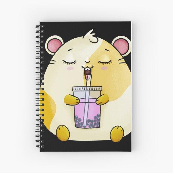 Kawaii  Hamster with Boba Tea - Pink Spiral Notebook