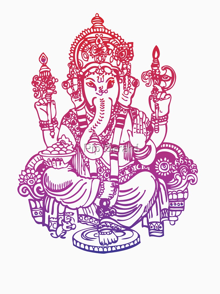 Ombre Indian Ganesh Elephant T-shirt | Women's T-Shirt