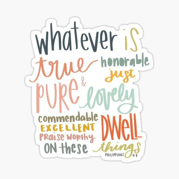 Philippiens 4: 8 citation de verset biblique Sticker