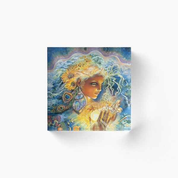 artistic, colors, emotion, face, fantasy, female, flowers, girl, god, goddess, josephine, magical, mood, people ,psychedelic, sci, science, wall ,women. Acrylic Block