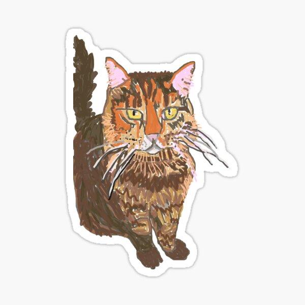 Fluffy Striped Orange and Beige Cat Sticker