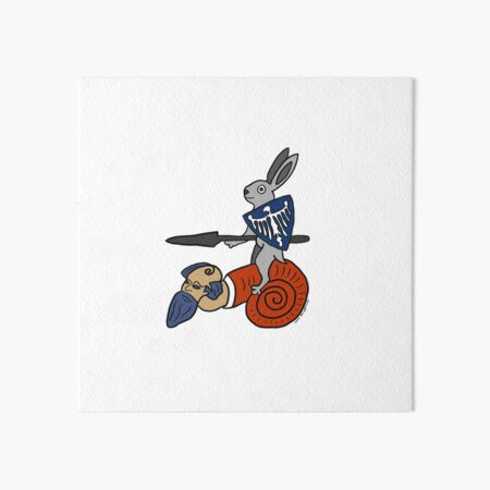Medieval Rabbit on a Snail Art Board Print