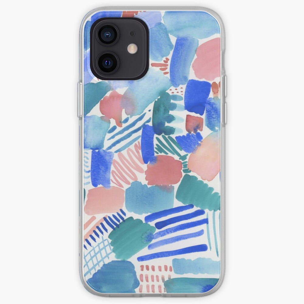 fun abstract pattern blue coral and green iPhone Case & Cover