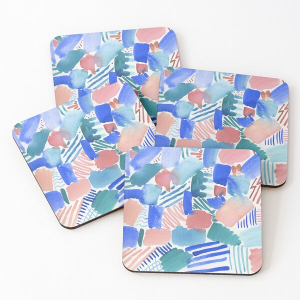 fun abstract pattern blue coral and green Coasters (Set of 4)