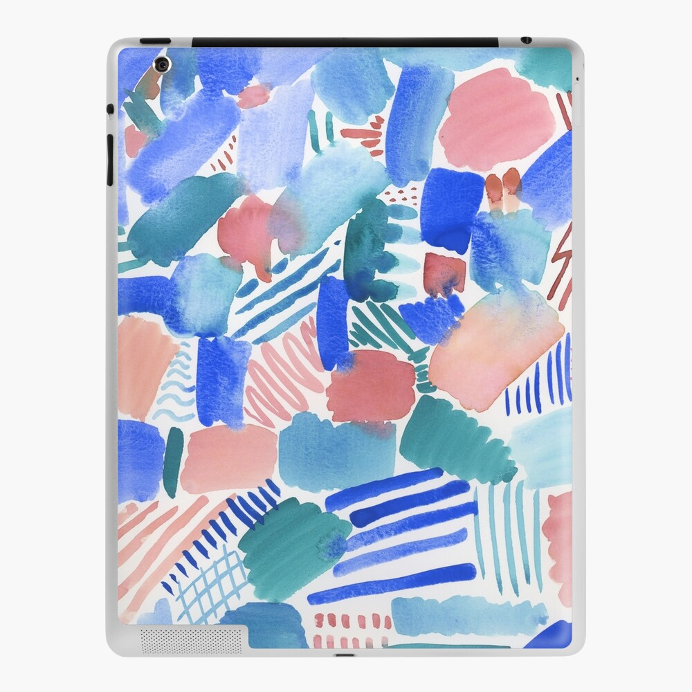 fun abstract pattern blue coral and green iPad Case & Skin