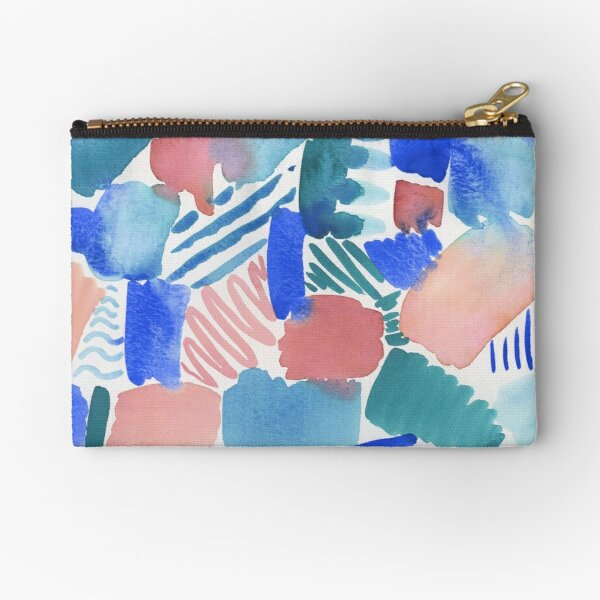 fun abstract pattern blue coral and green Zipper Pouch