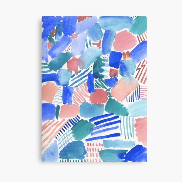 fun abstract pattern blue coral and green Canvas Print
