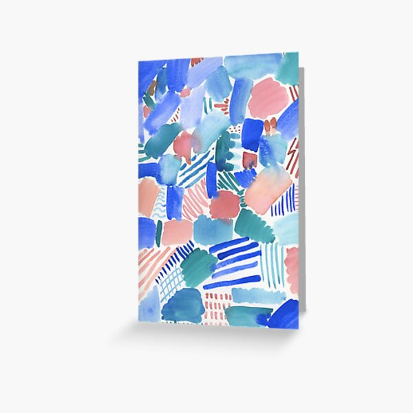 fun abstract pattern blue coral and green Greeting Card